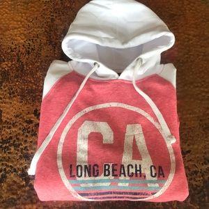 Long Beach White & Coral Hoodie. NWT.Size M. Soft!
